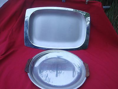 Two Large Quality Stainless Retro /artdeco Style Serving Tray Ideal For Xmas