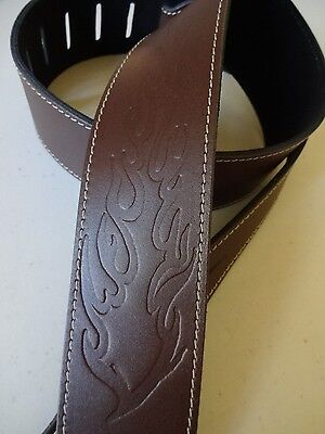 GUITAR STRAP-GENUINE Italian LEATHER 'FLAME' -**BROWN** uk Made, Fits Any Guitar