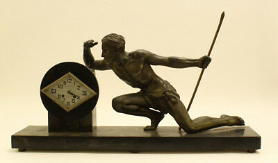 XXL huge antique ART DECO 1930 French man hunt spelter bronze clock marble base