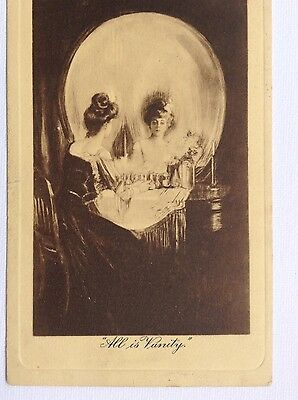 Fantasy postcard showing skull made up by a lady looking in the mirror. Vanity.
