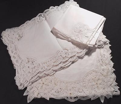 "Exquisite 17 Piece Hand Done Tape Lace Place Mat Set,8 Mats,8 Naps,1-68""runner"