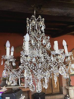 Vintage Crystal Italian  Macaroni Chandelier Murano Glass Leaves
