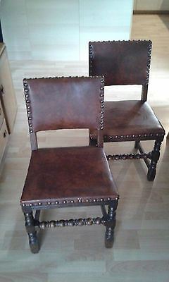 Vintage Leatherette/Brass Studded Chairs x 2