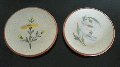 Purbeck Pottery Floral Design Pin Dishes x 2