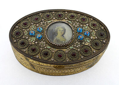 Antique French Gilt Bronze Enameled & Jeweled Box with Miniature Portrait - VR