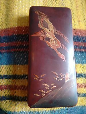 Lacquered Oriental Box. Depicting A Bird & Foliage. Vintage.