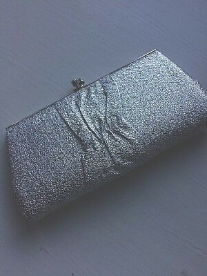 Silver Metallic Vintage Clutch Bag Clarks Made In England