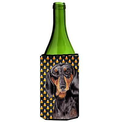 Dachshund Candy Corn Halloween Portrait Wine Bottle Hugger 24 oz.