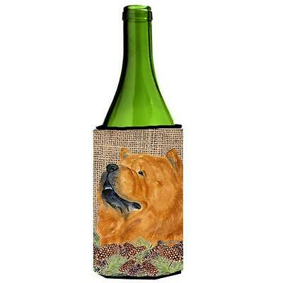 Chow Chow on Faux Burlap with Pine Cones Wine bottle sleeve Hugger 24 oz.