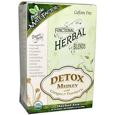 Functional Herbal Tea Blends Detox Medley with Ginger & Turmeric 20 Tea Bags