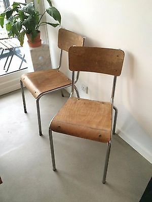 2 Vintage French tubular chrome stacking chairs