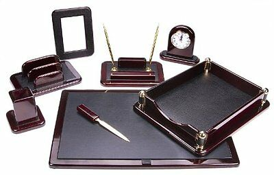 Leather Office Desk Organizer Set Clock Pen Holder Tray Business Executive New