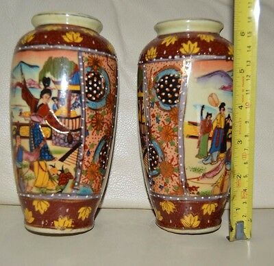 Japanese Style Pair Of Vases Hand Finished  -  Christmas Gift?