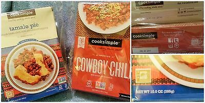 Cooksimple Variety Tamale Pie & Cowboy Chili Mixes Gluten Free Lot