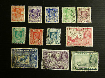 Burma 1938 Definitive issue part set   Fine Used