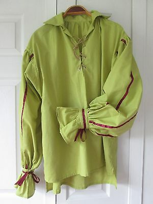 Renaissance - Men's Shirt - Pirate - Apple Green with Burgundy accents