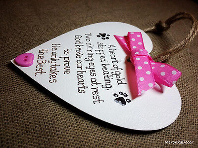 Pink Pet,Dog,Cat Memorial Plaque,Personalised Heart for indoor use