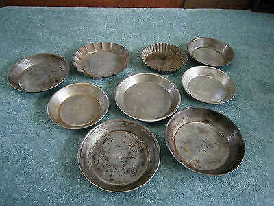 Lot 9 Vtg Pie Tins 6.5 to 8 Inches