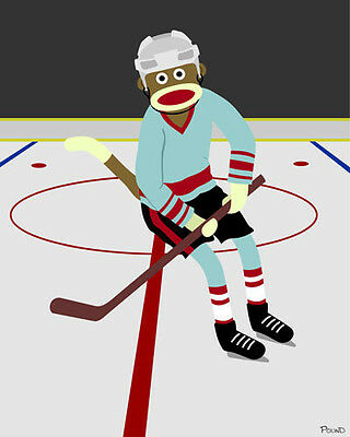 5x7 Print Sock Monkey Hockey Player Ice Skater Skating Cute Artwork Pop Art