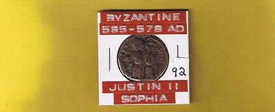 "Ancient Byzantine coin of ""Justin II & Sophia""  565-578 AD .. Large  follis 28mm"
