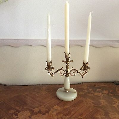 Antique French Alabaster and Brass Candleholder