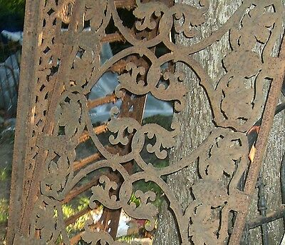 Antique Iron fence  panel Victorian Ornate  grape clusters 1880