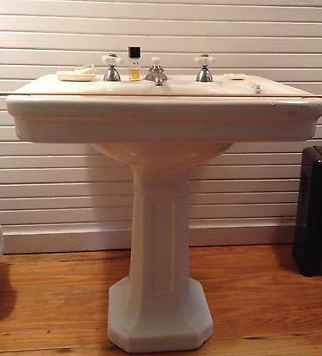 Antique  Cast Iron Pedestal Sink