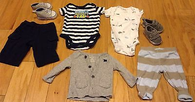 baby NB boy lot shoes outfits Carters just one you Newborn