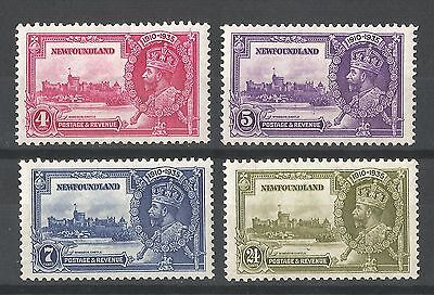 Newfoundland KGV 1935 Silver Jubilee Set of Stamps 4c 5c 7c 24c MH SG250-253