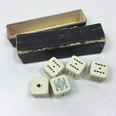 Vintage Galalith Poker Dice - Set Of 5 In Sleeved Box