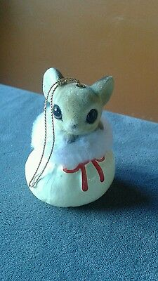 ADORABLE Christmas mouse in Santa's sack ornament - made in Japan - EUC
