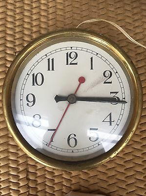 "Lovely Vintage Unusual  Brass "" Smiths English Clocks "" Electric Clock, 9.5"""