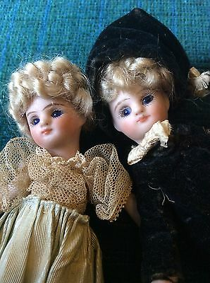 """Antique All Bisque 4"""" Mignonette Boy and Girl For French Market"""