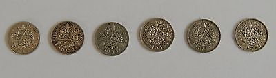 Three Pence (6 coins - 1931 to 1936)