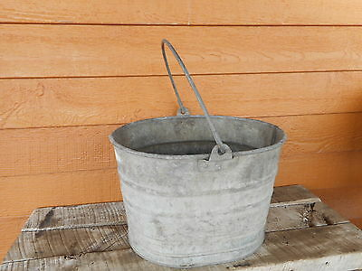 Galvanized VINTAGE Oval Pail bucket UNUSUAL Shaped Bucket Primitive Barn Farm