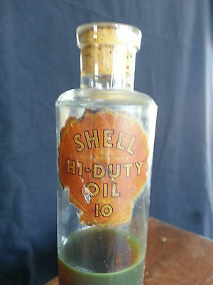 Early Glass Antique SHELL Hi Duty OIL 10 Jar Automobile collectible