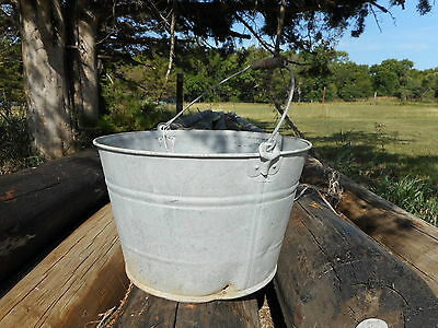 Galvanized VINTAGE Pail bucket Primitive Barn Farm Country Fresh Industrial