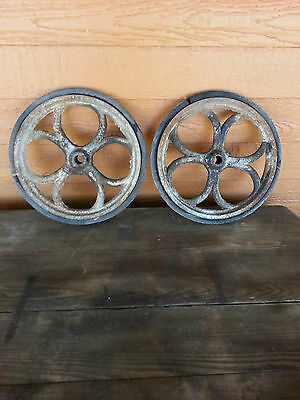 Cast iron heavy wheels (2) antique industrial steam punk railroad- for a cart?