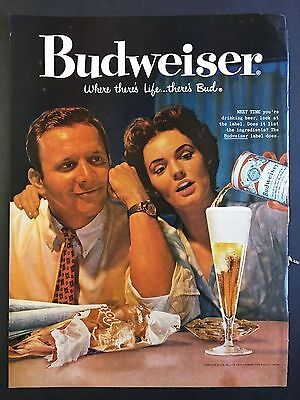 1959 Vintage Ad for Budweiser - Where There's Life .... There's Bud