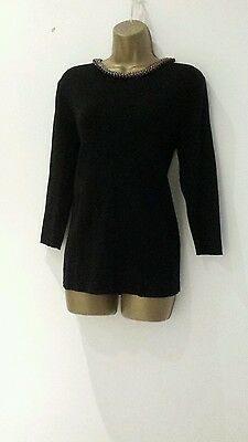 Zara Ladies Black Top / Blouse Uk 12 - 14 Size L In Excellent Condition With Bea