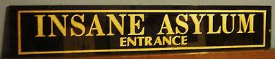 antique Insane Asylum glass Entrance Sign