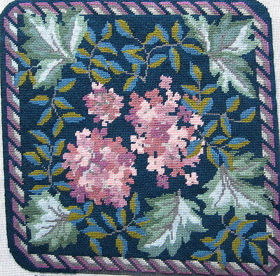 "Rowan Needlepoint PINK HYDRANGEAS nearly complete Tapestry Kit cushion 13.5""sq"
