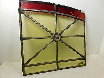 """Antique Lead STAINED GLASS WINDOW Panel Circa 19th Century Early 1800s 25"""" X 25"""""""
