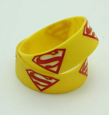 Yellow Silicone Elastic Rubber Bracelet, Superman Wristband F