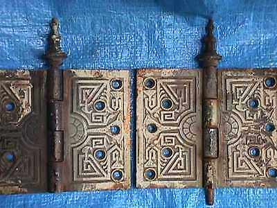 2 Matching ORNATE Eastlake Solid BRASS c.1885 Victorian Large STEEPLE Top HINGES