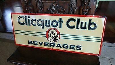 Rare 1930s-1950s Clicquot Club Beverages Tin Embossed Soda Sign