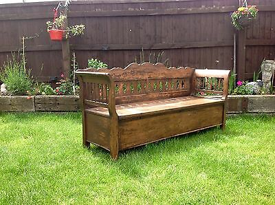 Beautiful Antique continental pine settle with storage