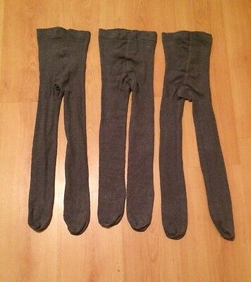 Set of 3 Girls Grey Cotton Tights (7-8yrs)