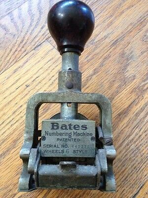 Vintage Bates Numbering Machine 6 Wheel Style E