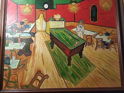 """Original painting based on VAN GOGH """"The night cafe"""" signed and framed  nicely"""